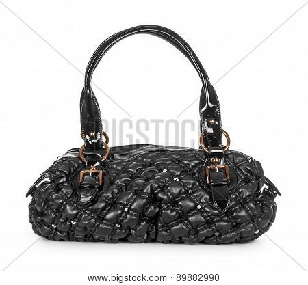 Black Patent Bag On An Isolated White Background