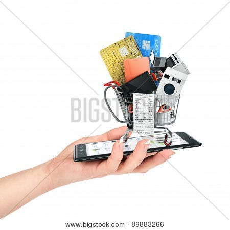 Online Shop Concept. Female Hand Hold Phone With  Large Home Appliances And Check In Shopping Cart.