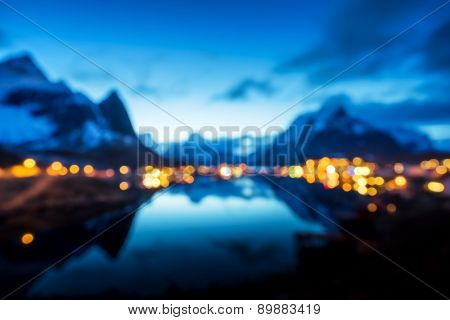 bokeh (out of focus) of sunset  in Reine Village, Lofoten Islands, Norway
