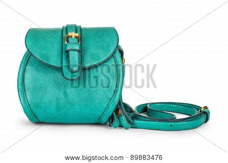 Green Sea Ladies Leather Bag On An located on a white background