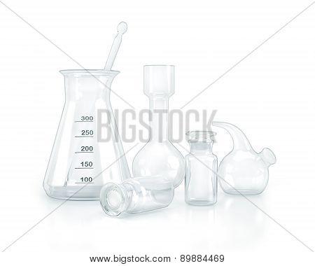 Test-tubes Isolated On White. Laboratory Glassware.