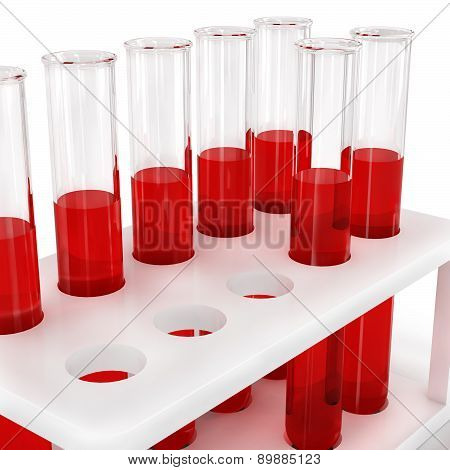 Test Tubes With Blood Samples, On A White Background