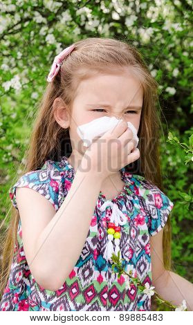 Little Girl Has Allergy To Spring Blossoming