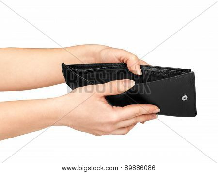 Hands Holding An Open Wallet Isolated On White Background