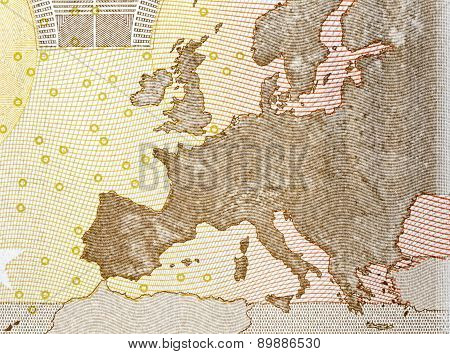 Map Europe Close Up