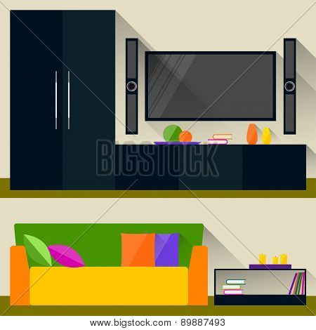 Bright Room Interior, Trendy Flat Style Design With Long Shadows