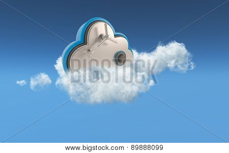 3D conceptual image of security in cloud storage