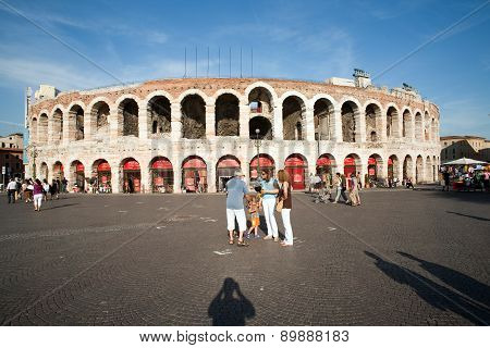 Visitors, Spectators Are Taking A Photo Outside The Arena Di Verona In  Late Afternoon
