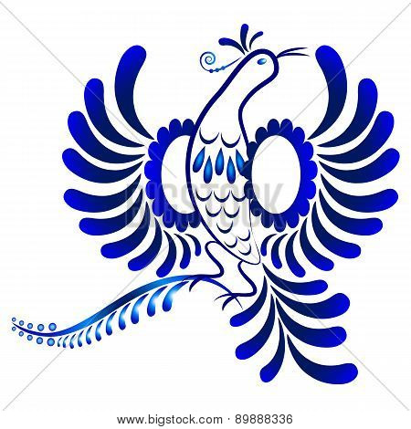 Floral Ornament In Gzhel Style. Flying Bird