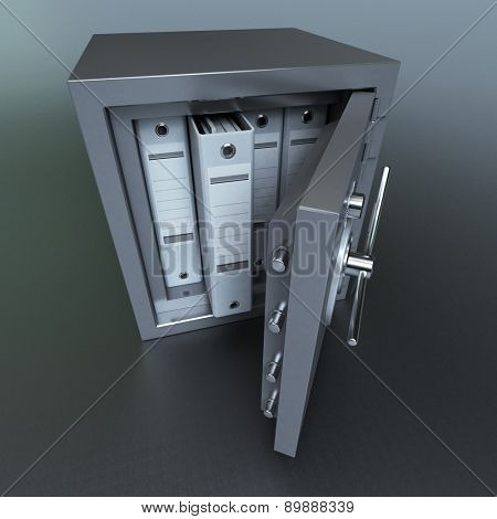 3D rendering of ring binders on a safe deposit box