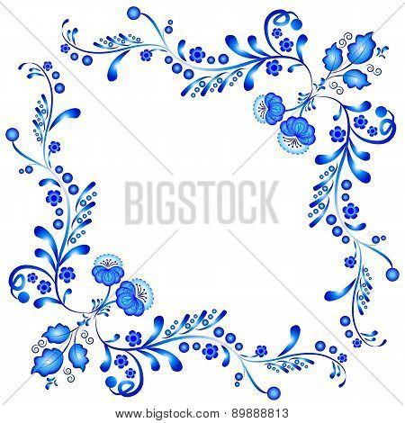 Symmetric Floral Ornament In Gzhel Style