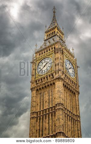 Big Ben Against A Grey, Cloudy Sky