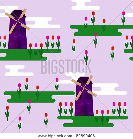 Windmill And Tulips Isolated On Lilac Cover Seamless Pattern Background