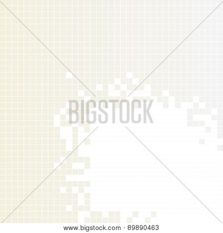 Light brown, gray squares pattern. Pixel mosaic background with copy space