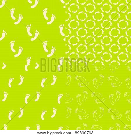 Feet seamless pattern and background set. Foot texture in modern clean and simple flat design. Vecto