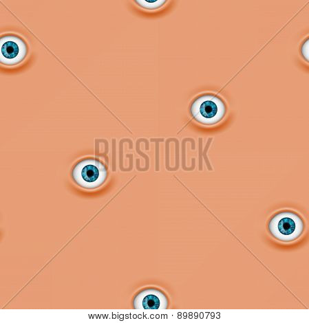 Seamless Pattern With Human Eyes