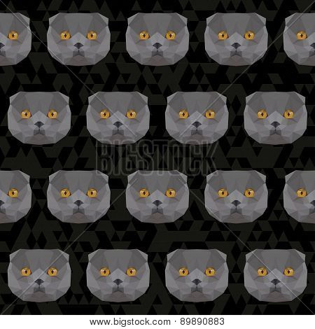 Abstract Polygonal Geometric Triangle Grey Colored British Cat Portrait Background