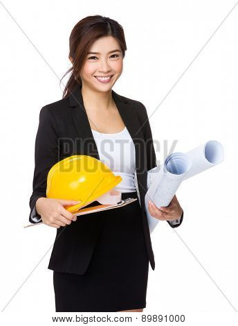 Businesswoman hold with clipboard, hard hat