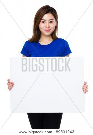 Asian woman hold with white banner