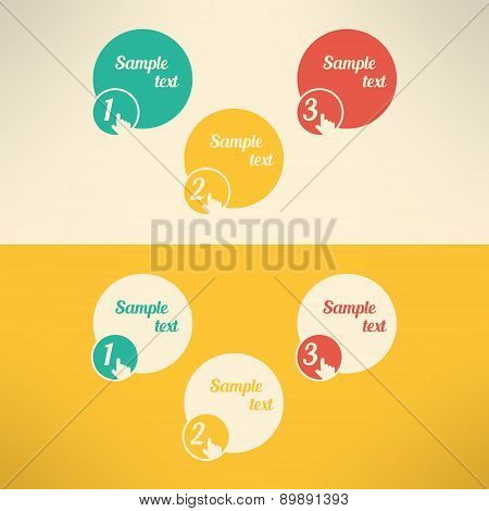 Business process steps infographic elements. Tutorial and presentation banners. Vector illustration.