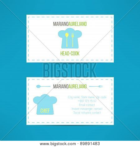 Chief head cook business card template made in modern clean design. Vector illustration