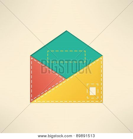 Colorful envelope with copyspace. Mail and communication concept. Vector illustration.