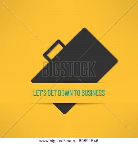 Business text background with a suitcase sign. Yellow text frame on case background. Vector illustra