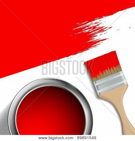 Paint Brush And A Bucket Of Red Paint