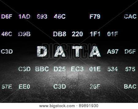 Information concept: Data in grunge dark room