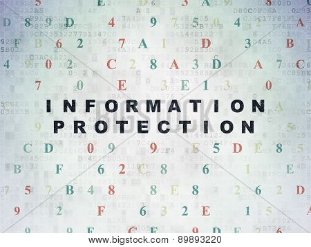 Security concept: Information Protection on Digital Paper background