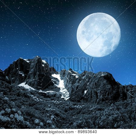 Mountain Brenta in night - Dolomites Italy.