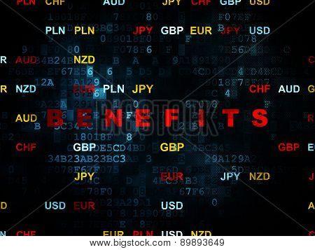 Finance concept: Benefits on Digital background