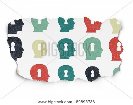 Finance concept: Head With Keyhole icons on Torn Paper background