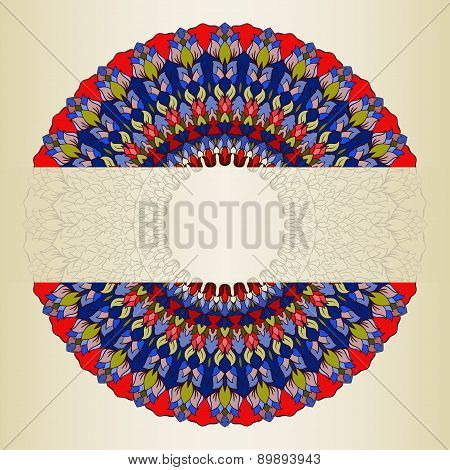 Isolated Ornamental Floral Abstract Lace Round With Many Details