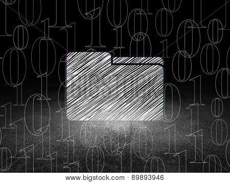 Business concept: Folder in grunge dark room