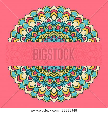 Bright Ornamental Abstract Lace Round With Many Details