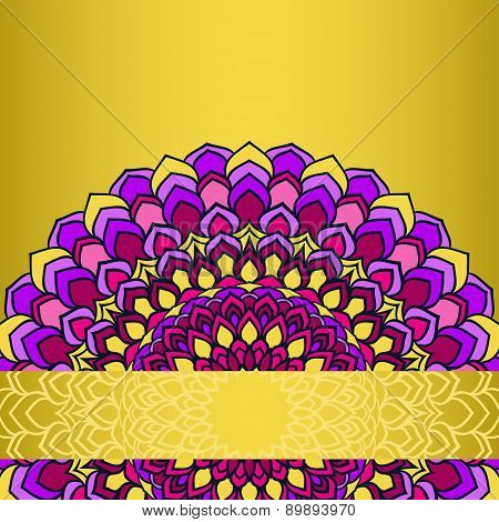Ornamental Floral Abstract Lace Round Isolated On Bright Yellow Background