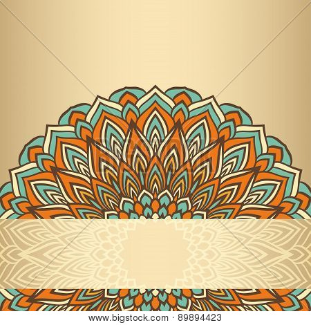 Ornamental Floral Abstract Lace Round Isolated On Gold Background
