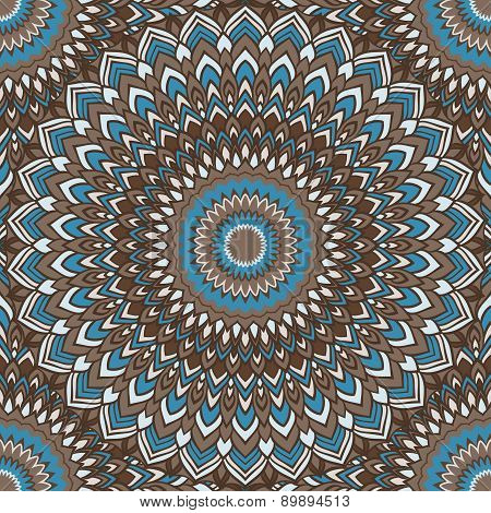 Brown And Blue Colored Ornamental Abstract Seamless Lace Background