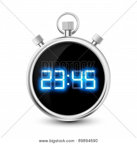 Digital Stopwatch With Blue Numerals