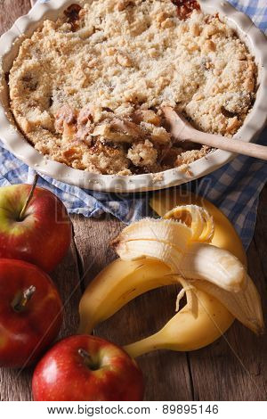Crumble With Apple And Banana Close-up, Vertical, Rustic