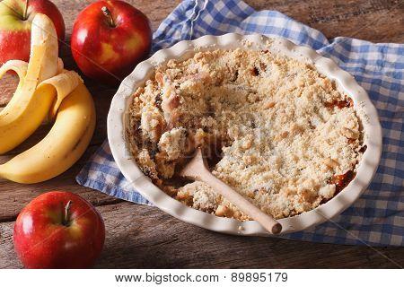 Crumble With Apple And Banana Close-up, Horizontal, Rustic