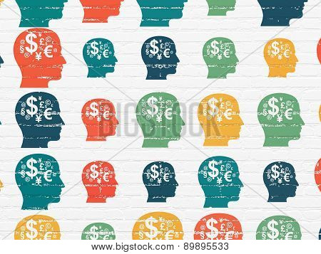 Marketing concept: Head With Finance Symbol icons on wall background