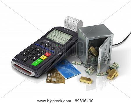 Payment Terminal With Credit Card And Safe With Gold And Money. Credit Card Reader, Payment Concept.