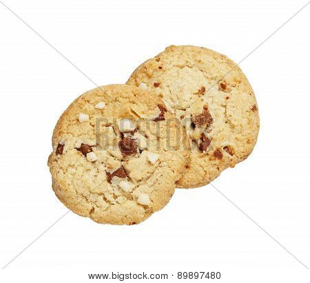 the chocolate chip and macadamia cookies isolated on white background