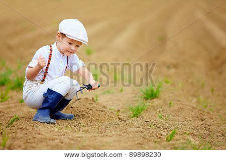 Cute Little Farmer Working With Spud On Spring Field