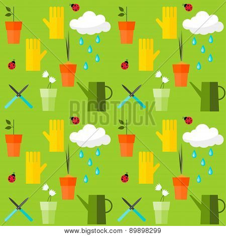 Brightly Colored Seamless Pattern Background On The Theme Of Gardening