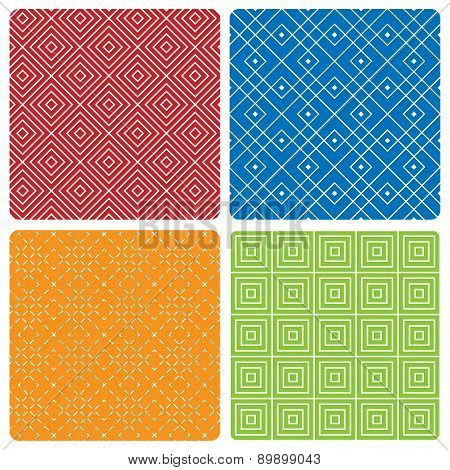 Four abstract seamless patterns