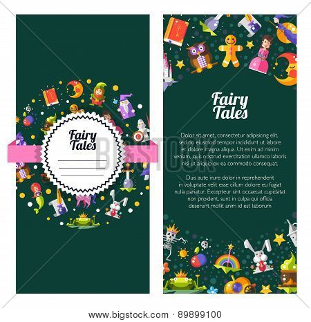 Flyer template of modern fairy tales flat design magic icons and elements