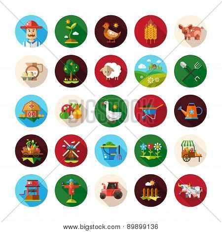 Set of farm and agriculture flat design icons
